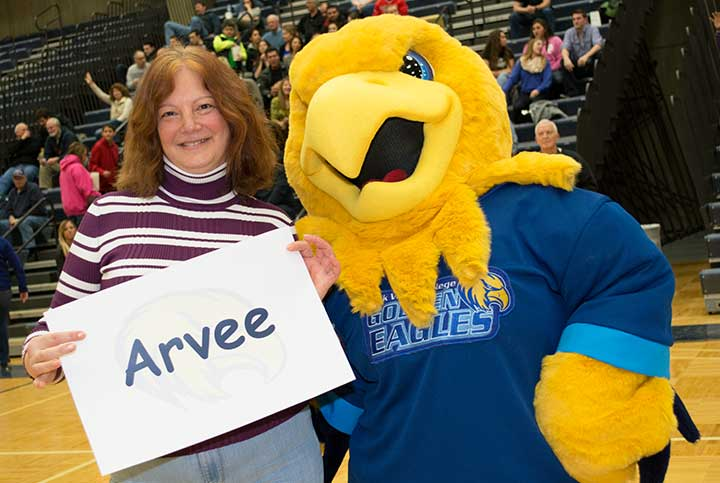 Arvee with mascot contest winner Cristina Szterensus