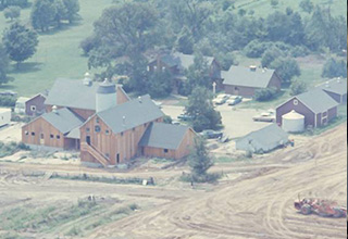 An aerial view of Spring Brook Farm in 1965.