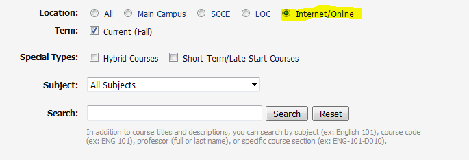 How to search for online credit courses at RVC