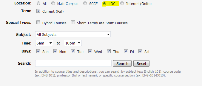 How to search for courses offered at the LOC