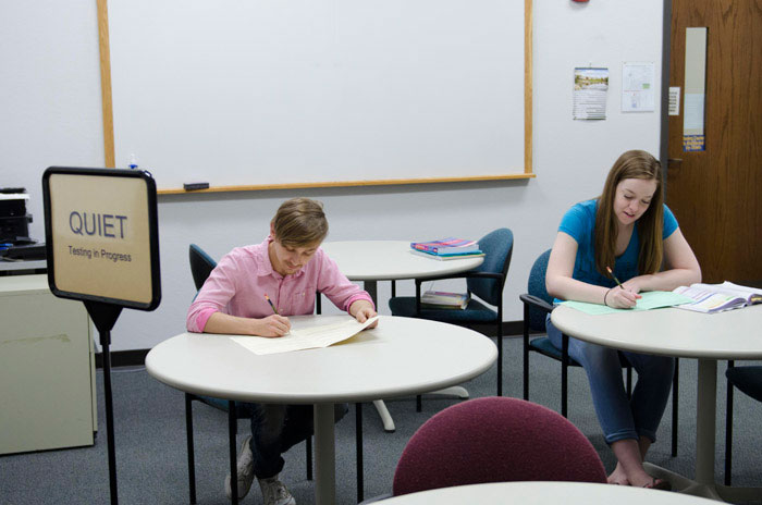 Students take placement testing at the Stenstrom Center