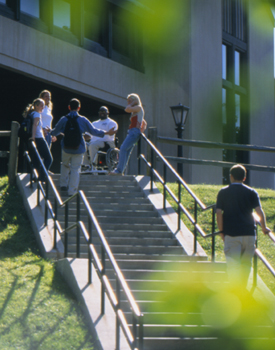 Students outside stairs