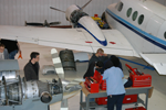 Second semester students in RVC AMT hangar.