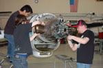 Second year students service turbo prop engine