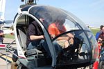 Instructor Todd Morgan demonstrates helicopter