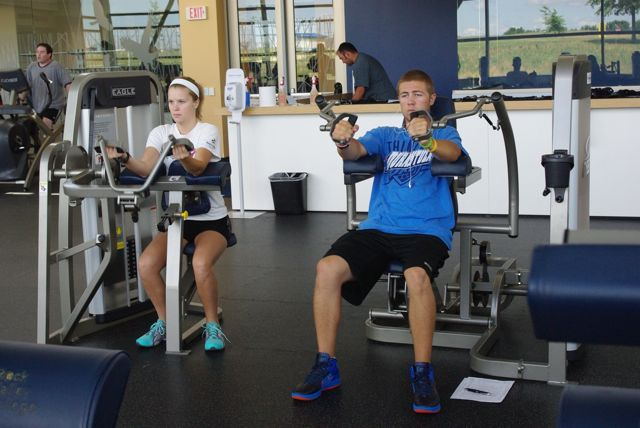 Students work out in the RVC Fitness Lab