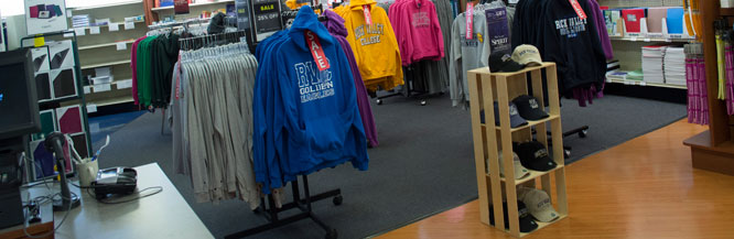 RVC spirit wear on display at the college bookstore.
