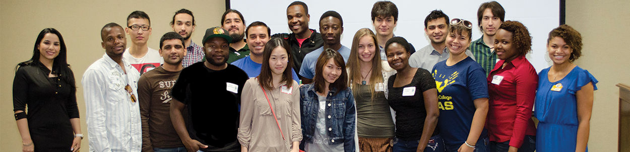 Some of our international students pose for a photo at a campus event.