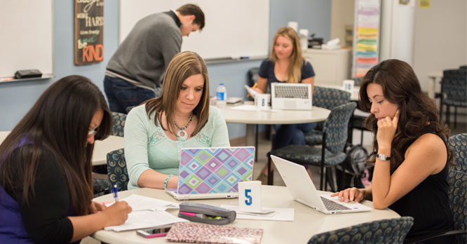 Students studying in the tutoring lab in the Student Center