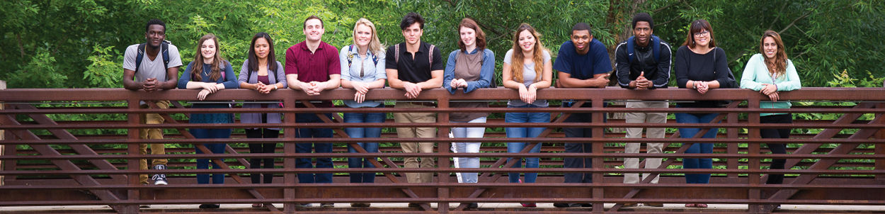 Students pose for a photo on the bridge over the creek near the ERC.
