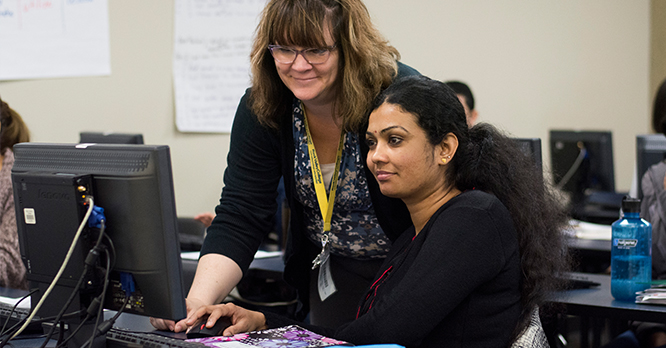Rock Valley College Intensive English Program Professor and Student