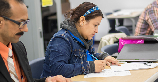 Rock Valley College Intensive English Program Students Studying