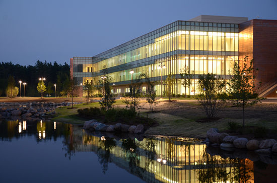 A nighttime view of the Karl J. Jacobs Center for Science and Math.