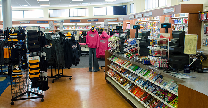 The Rock Valley College Bookstore is located on the ground level of the Student Center